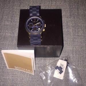 Michael Kors Navy and Gold Watch